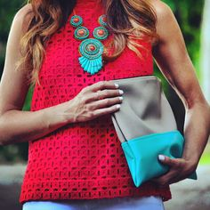 Fire and Ice Fashion Color Combination - Red J. Crew Top with Turquoise Nordstrom Necklace Passion For Fashion, Love Fashion, Couture, Playing Dress Up, Classy And Fabulous, Spring Summer Fashion, Dress To Impress, What To Wear, Style Me