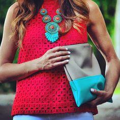 statement necklace + colorblock clutch
