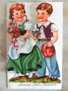 Carte Postale À Système Bonne Fete Maman Couple Enfant Chromo Découpis Ancien