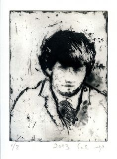 Hagit Shahal - Faded Lover 4, 2014 Soap-ground aquatint with drypoint, Image Size:20/15 cm.