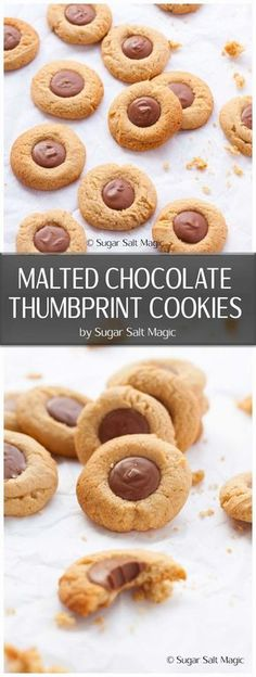 Malted Chocolate Thumbprint Cookies. Crunchy cookies flavoured with malted milk and filled with melted chocolate. #malt #chocolate via @sugarsaltmagic