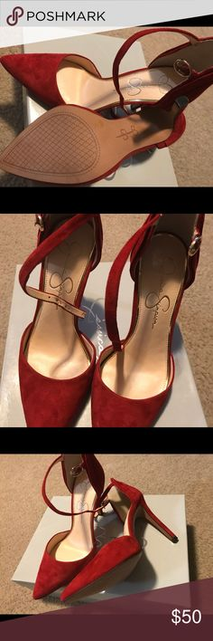 Chili  pepper red suede pumps by Jessica Simpson Size 7- Chili pepper red suede pumps with ankle straps by Jessica Simpson.  A perfect addition to any wardrobe.  Never worn. Jessica Simpson Shoes Heels
