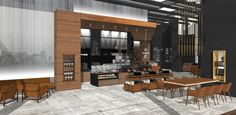 SketchUp rendering of the Starbucks Reserve Bar at Brookfield Place, NY. Images courtesy of Starbucks.