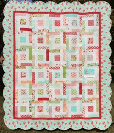 """Hello Darling Quilt Kit from Old South Fabrics featuring """"Hello Darling"""" fabric  collection by Bonnie & Camille for Moda is hereavailable- http://www.oldsouthfabrics.com/shop/Quilt-Kits-and-More-/p/Hello-Darling-Quilt-Kit-with-Scalloped-Edge-Border-x9793391.htm"""