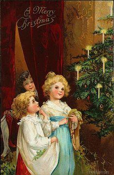 Рождественские и новогодние старинные открытки с изображением детей. Часть 2. : На крыльях вдохновения