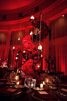 rich black magic rose spiral #weddings #centerpieces #redroses #southfloridaweddings