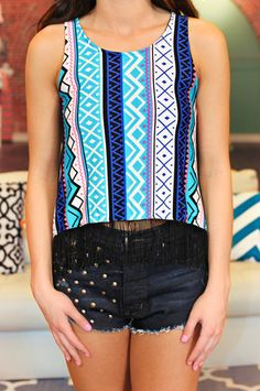 Tribal Fringe Tank   uoionline.com: Women's Clothing Boutique