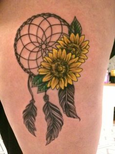 Sunflowers tattoo! Complete with a protective dreamcatcher! Dreamcatcher tattoo! Sunflower art! Dreamcatcher art!