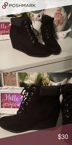 Black wedge booties These are brand new never worn from tillys  Size 8.5 All man made material Suede like outer No hold  No trades  Please use offer button to discuss price Tilly's Shoes Ankle Boots & Booties