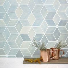 Add modern dimension to your kitchen or bathroom with our diamond shaped backsplash tiles. These handmade ceramic rhomboid tiles feel fresh and chic. Blue Kitchen Cabinets, Red Kitchen, Kitchen Tiles, Kitchen Cupboard, Kitchen Decor, Bar Tile, Blue Backsplash, Backsplash Ideas, Geometric Tiles