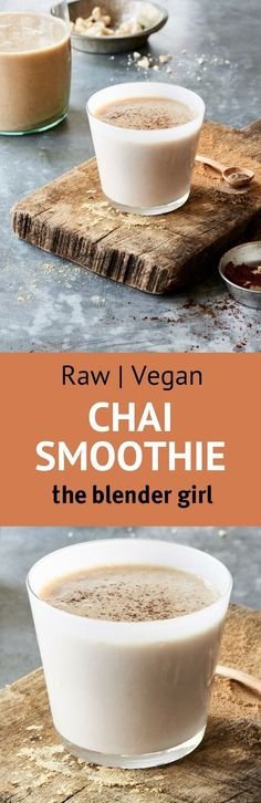 If the world were ending Id make this decadent vegan chai smoothie my finale. The incredible creaminess and blend of warm spices will make you weak in the knees. Blender Recipes, Delicious Vegan Recipes, Raw Food Recipes, Healthy Recipes, Juice Recipes, Drink Recipes, Soup Recipes, Healthy Green Smoothies, Healthy Drinks