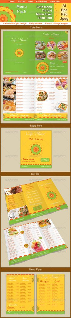 Cafe Menu Template  #GraphicRiver         Cafe Menu Pack! Clean and Bright design      Menu Pack include: - 17 AI + 17 EPS + 16 PSD + 17 JPEG files preview:   Menu (12 pages, 12 AI + 12 EPS + 12 PSD + 12 JPEG files)   Tri fold (Inside/Outside, 2 AI + 2 EPS + 2 PSD + 2 JPEG files)   Table Tent (1 AI + 1 EPS + 1 PSD + 1 JPEG files)   Menu Flyer (Front/Back, 2 AI + 2 EPS + 1 PSD + 2 JPEG files) - CMYK - 300 DPI - Print ready - Well organized, layered and grouped files (includes Guides and Guide…