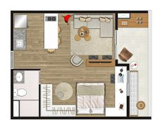 Ilustração artística da planta do apartamento Studio - 34,19 m² (final 10 do 2º ao 11º andar)