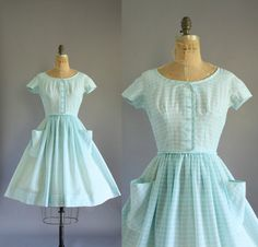 Vintage 50s Dress/ 1950s Cotton Dress/ Aqua by WhenDecadesCollide