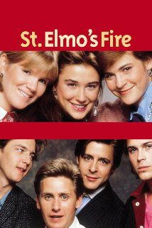St. Elmo's Fire (1985) starring Emilio Estevez, Rob Lowe, Andrew McCarthy, Demi Moore, Judd Nelson, and Ally Sheedy about recent college graduates starting their professional careers. (Part of the Brat Pack Collection.)