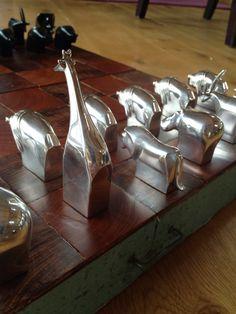 Unique Modern Dansk Chess Set, Custom Crafted, Silver, Rosewood, Osage Orange