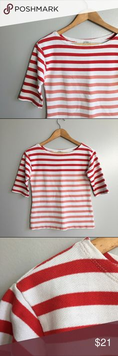 J. Crew Color Block Top Red and orange striped woven cotton tee. Sleeves to elbow. Great with jeans! Good condition. Across the chest 17 inches. Shoulder or hem 21.5 inches. J. Crew Tops Tees - Short Sleeve