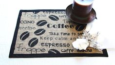 Burlap Placemats Place Mats - Set of Four  , Coffee Station Placemats , Rustic Table Decor