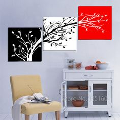 Abstract Tree Branch Canvas Painting Wall Art Home Decor