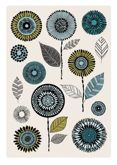 Flowerheads Blue limited edition giclee print by EloiseRenouf, $25.00