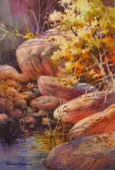 Sun Glow in Pine Creek ~ Watercolor Painting of Zion National Park ~ Roland Lee