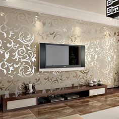 Genuine victorian glitter wallpaper silver background wall wallpaper pvc roll wall papers home decor for living room & bedroom Romantic Home Decor, Home Living Room, Room Design, Interior, Wallpaper Living Room, House Interior, Gold Living Room, Living Decor, Living Room Designs