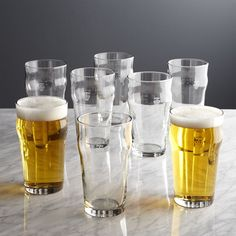 Set of 8 Pint Glass Tumblers with Crown - Crate and Barrel