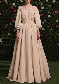 Vintage Off-The-Shoulder Solid Color High Waist Pleated Ball Dress For Women