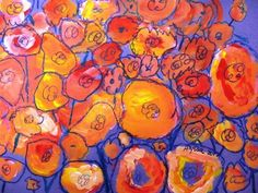 """Poppies: """"After having FUN mixing red , yellow and white to create many values of pinks and orange, kindergarten kids changed their """"circles of magical colors"""" into awesome fields of poppy flowers."""""""