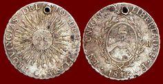 Pièce de 8 réaux en argent. Monnaie argentine Union y libertad, frappée à Potosí en 1815