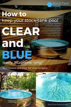Learn how to keep your stock tank pool CLEAR and BLUE (easily, all summer long)! - Learn how to keep your stock tank pool CLEAR and BLUE (easily, all summer long)! tank pool i - Stock Pools, Stock Tank Pool, Large Stock Tank, Diy Swimming Pool, Diy Pool, Kiddie Pool, Homemade Swimming Pools, Concrete Patios, Do It Yourself Pool