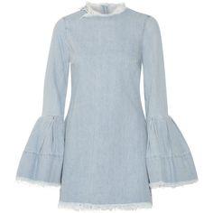 Marques' Almeida Frayed denim mini dress (4.033.660 IDR) ❤ liked on Polyvore featuring dresses, light denim, short sleeve dress, mini dress, short dresses, short denim dress and long-sleeve mini dress
