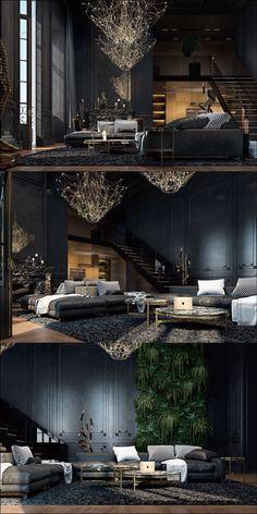 Black walls dark interior decor with gold accents