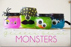 Can monsters be cute? It's seems to be an oxymoron, right? But somehow these monster glitter slime monster jars from The 36th Avenue defy the odds …  A perfect blend of not-so-creepy monsters…
