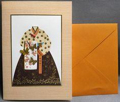 Korean Traditional Designed Card - Korean Traditional Cloth Hanbok 12 by lovingpaper on Etsy