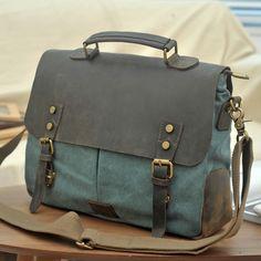 Handmade Olive Green Canvas Leather Bag Messenger Bag Shoulder Bag Laptop Bag Briefcase 14098