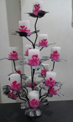 Felt Flowers, Paper Flowers, Pop Up Flower Cards, Floating Candle Centerpieces, Flower Mobile, Flower Arrangements Simple, Flower Template, Handmade Decorations, Flower Tutorial