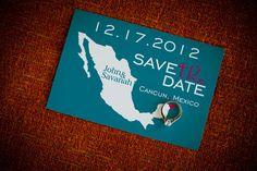 destination wedding, save the date, cancun wedding, mexico wedding, teal and pink wedding