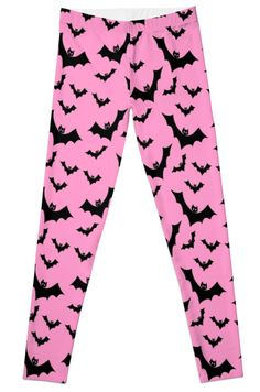 c199c6fc8fbda Pastel Goth Vampire Bats (Pink / Black) by PastelGoth Vampire Bat, Black  Leggings