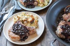 Blueberries are a surprising complement to the spice rubbed pork chops. There's a subtle sweetness to the blueberry sauce, but don't expect it to be overpowering. It's more savory-salty than sugary-sweet. Don't skip the brine, as it insures a super juicy pork chop. more