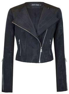 Jet Black Moire Moto Jacket