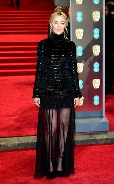 Saoirse Ronan from 2018 BAFTA Film Awards: Red Carpet Arrivals  TheLady Bird star sports a semi-sheer look.
