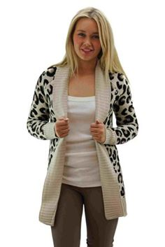 Girltalkfashions Women Chuncky Leopard Print Long Sleeve Cardigan