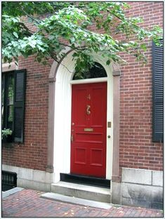 best color to paint front door with red brick house front door colors for red brick house best color with black shutters ideas full image printable The Doors, Entrance Doors, Red Door House, House Front Door, House Trim, Black House, House Shutters, Black Shutters, Door Paint Colors