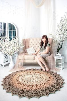 """Big crochet rug with volumetric elements in), doily rug, Shabby chic rug for the living room, by LaceMats """"Astra'l"""""""