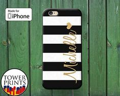 Black White Stripes Name Monogram Cursive Heart Cute iPhone 5 5s 5c iPhone 6 and 6 Plus and iPhone SE iPhone 6s and 6s Plus iPhone 7 Plus