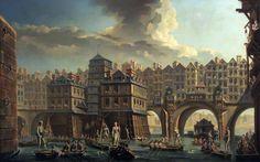 PARIS (1756). Nicolas-Jean-Baptiste Raguenet: La joute des mariniers, entre le pont Notre-Dame et le Pont-au-Change.