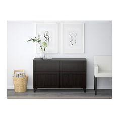 BESTÅ Storage combination w doors/drawers, Hanviken black-brown - Hanviken black-brown - 120x40x74 cm - drawer runner, push-open - IKEA