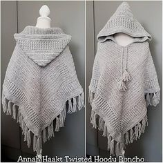 US Crochet Pattern Twisted Hoody Poncho by Annah Haakt Poncho Au Crochet, Crochet Cable Stitch, Crochet Hoodie, Slip Stitch, Hooded Poncho Pattern, Hood Pattern, Crochet Twist, Front Post Double Crochet, Crochet Clothes