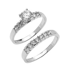 10k White Gold Channel Set Round 15 Carat Total Weight CZ Engagement Wedding Ring Set Size 825 >>> You can get additional details at the image link.